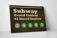 Subway Sign Grand Central Canvas Wall Art