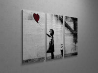 Banksy Girl With Balloon Triptych Canvas Wall Art