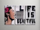 Banksy Life Is Beautiful Triptych Canvas Wall Art