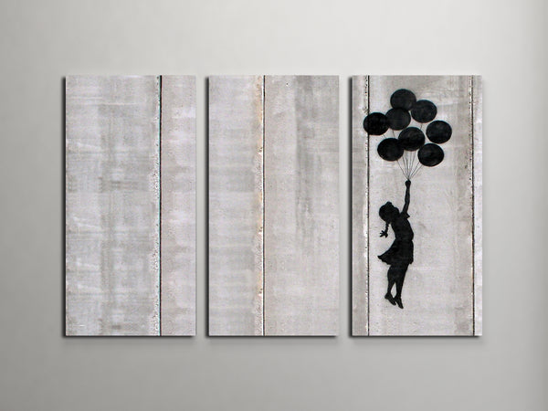 Banksy Flying Balloons Girl Triptych Canvas Wall Art - Clearance