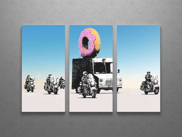 Banksy Donut Police Escort Triptych Canvas Wall Art - Clearance