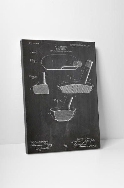 Golf Putter Patent Canvas Wall Art