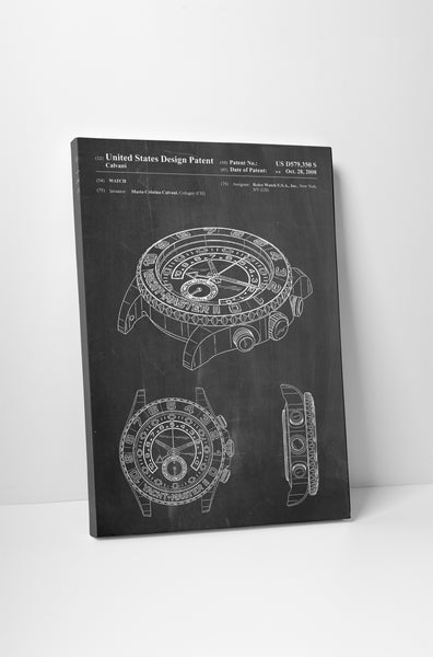 Rolex Watch Patent Canvas Wall Art