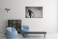 Banksy Stolen Olympic Rings Brushed Aluminum Metal Art Print