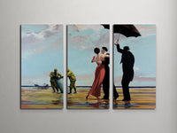 Banksy Dancing at Toxic Wastes Triptych Canvas Wall Art