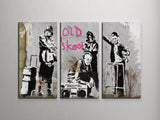 Banksy Old Skool Triptych Canvas Wall Art