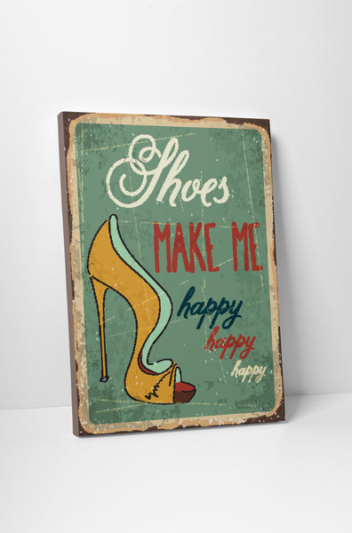 Pixelated Vintage Sign Shoes Make Me Happy Canvas Wall Art