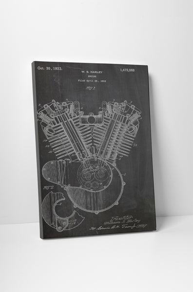 Harley Engine Patent Canvas Wall Art