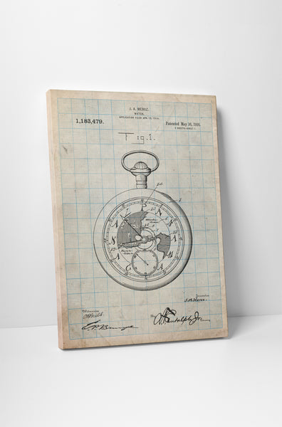 Pocket Watch Patent Canvas Wall Art