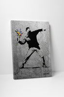Banksy Flower Thrower Concrete Wall Edition Canvas Wall Art