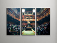Banksy Monkey Parliament Triptych Canvas Wall Art