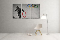 Banksy Stolen Olympic Rings Triptych Canvas Wall Art