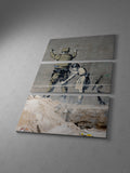 Banksy Girl Searching a Soldier Triptych Canvas Wall Art