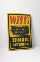 Vintage Sign Warning Zombie Outbreak! Canvas Wall Art