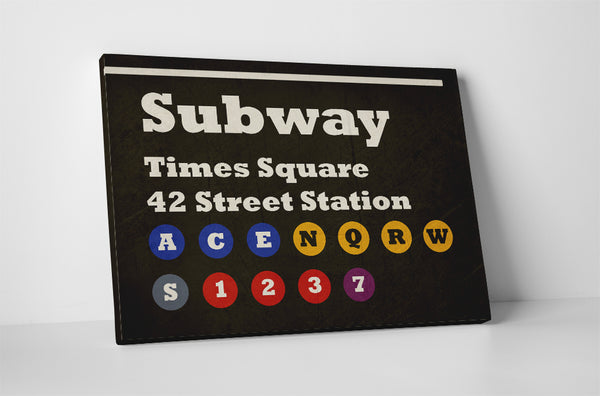 Subway Sign Times Square Canvas Wall Art