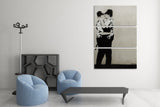 Banksy Kissing Coppers Triptych Canvas Wall Art