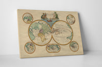 Vintage Map Mappe Mondes Canvas Wall Art