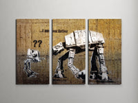 Banksy I am Your Father (Star Wars) Triptych Canvas Wall Art