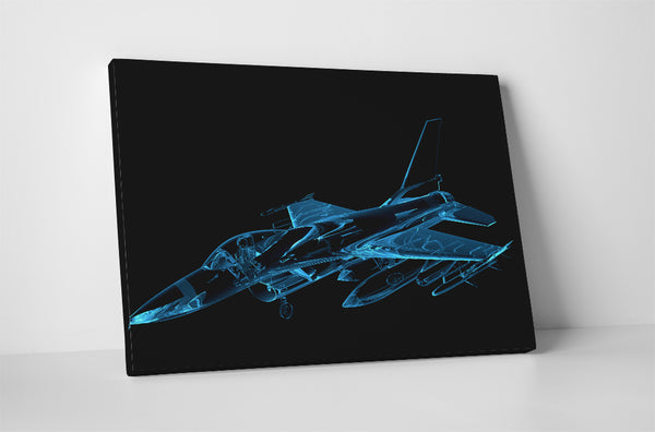 F16 Falcon in Blue Xray Canvas Wall Art