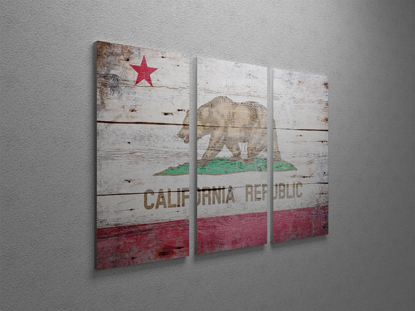 Vintage Republic Of California Flag Triptych