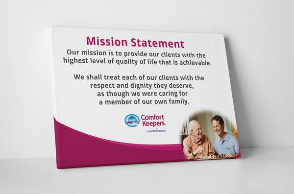 Comfort Keepers Mission Statement Purple Canvas Wall Art