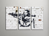 Banksy - Mona Lisa With Bazooka Triptych Canvas Wall Art