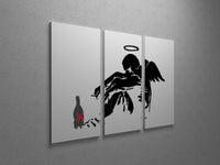 Banksy Drunken Angel Triptych Canvas Wall Art