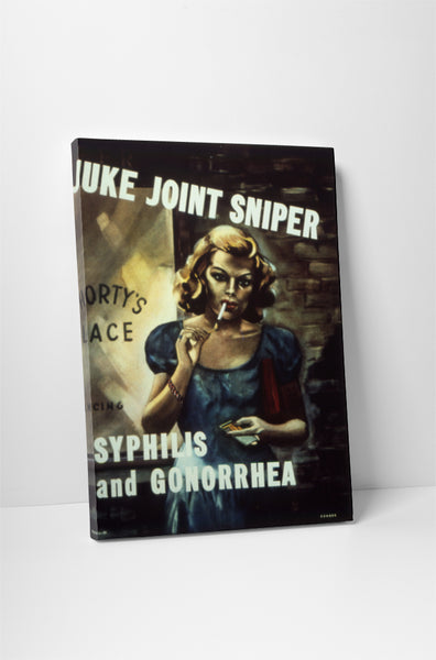 Vintage Ad Poster Juke Joint Sniper Canvas Wall Art