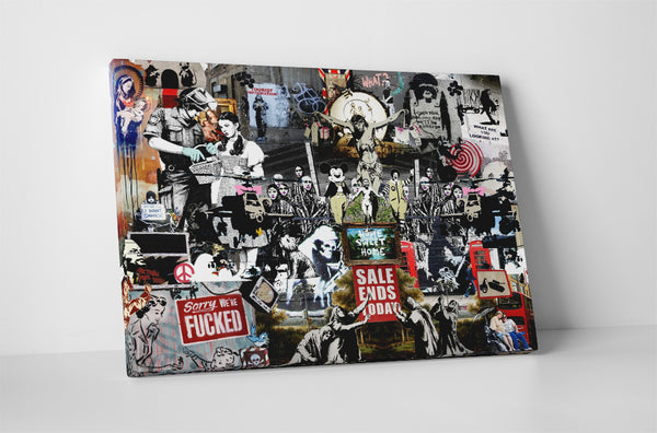 Banksy Collage Canvas Wall Art