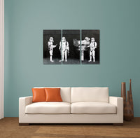 Banksy Stormtroopers Filming Oscars Triptych Canvas Wall Art