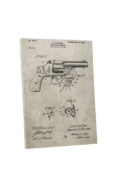 Smith & Wesson Revolver Patent Canvas Wall Art