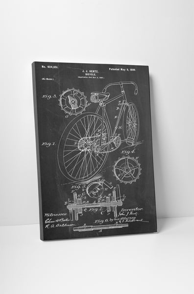 Bicycle Hentz Patent Print Canvas Wall Art