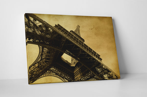 Base of Eiffel Tower Vintage Post Card Canvas Wall Art