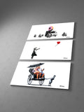Banksy Donut Police, Girl With Balloon,  Rickshaw Collage Triptych Canvas Wall Art
