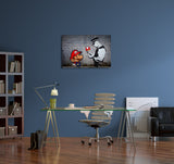 Banksy Mario Bros Mushroom Brushed Aluminum Metal Art Print