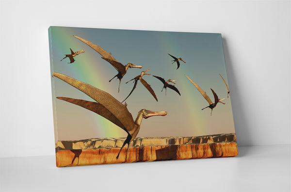 Dinasours Pterodactyls Canvas Wall Art