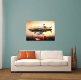Blimp Over Moscow City Canvas Wall Art