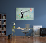 Banksy Boy With Machine Gun Canvas Wall Art