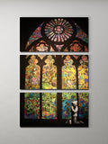Banksy Stained Glass Cathedral Triptych Canvas Wall Art