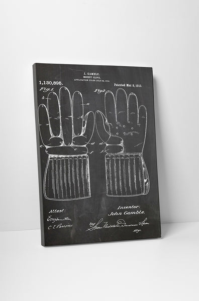 Hockey Glove Patent Canvas Wall Art