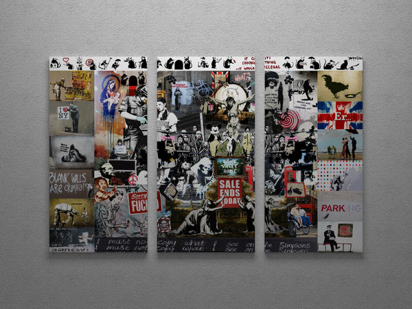 Banksy Mega Mix Collage Canvas Triptych Wall Art