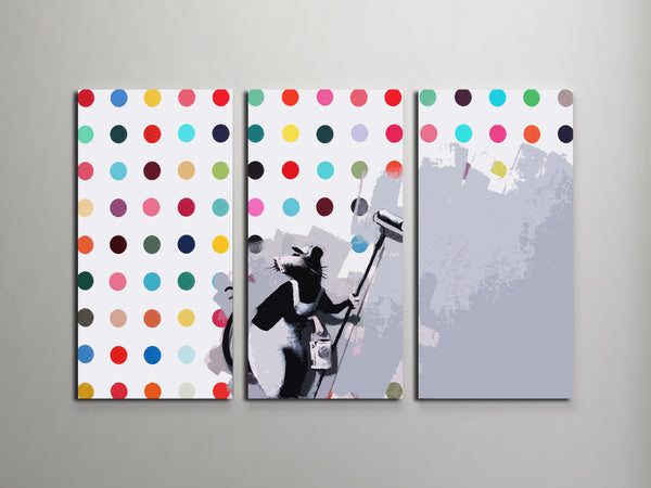 Banksy Dots Rat Triptych Canvas Wall Art