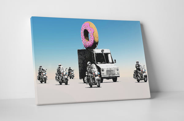 Banksy Donut Police Escort Canvas Wall Art