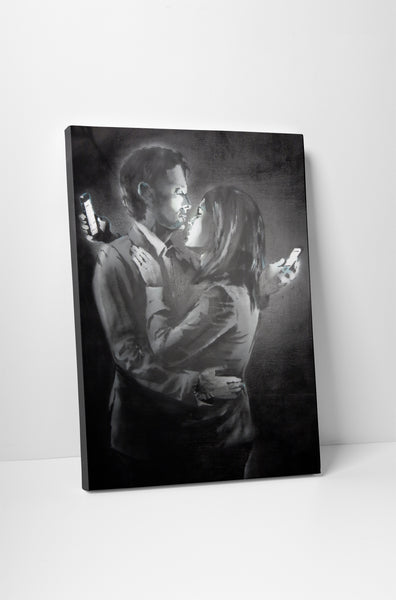 Banksy Mobile Lovers Canvas Wall Art
