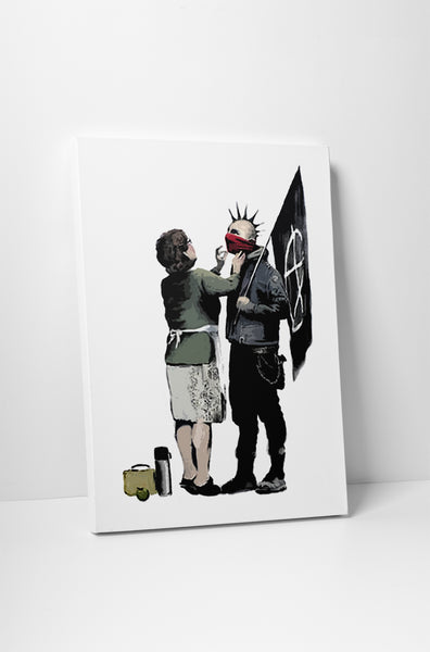 Banksy Anarchist and Mother Canvas Wall Art