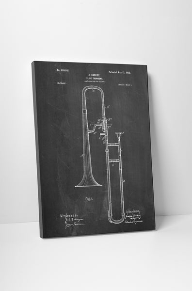 Trombone Patent Canvas Wall Art