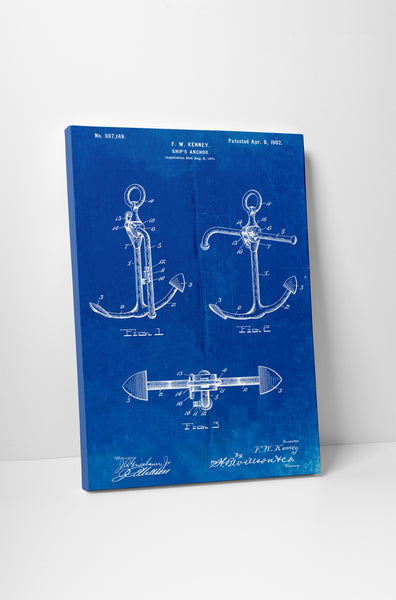 Ship Anchor Patent Canvas Wall Art