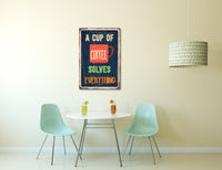 Pixelated Vintage Sign Cup of Coffee Solves Everything Canvas Wall Art