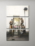 Banksy Phone Booth Spies Triptych Canvas Wall Art