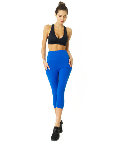 High Waisted Yoga Capri Leggings - Sky Blue